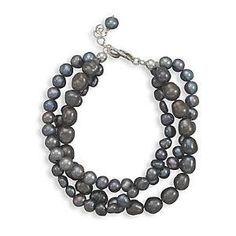 Gray Pearl Bracelet 3-strand Layered Sterling Silver Adjustable Length AzureBella Jewelry. $35.25. Matching bracelet and earrings are available. Genuine cultured freshwater pearls. Lobster clasp. .925 sterling silver