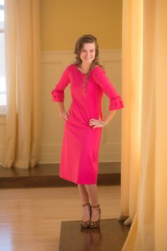 Dainty Jewell's Original Layering Dress in Bright Pink | Countless wardrobe possibilities with our DJ Original Layering dresses, and they come in nine different colors! Shop modest apparel, bridesmaid dresses, and ruffles and lace at www.daintyjewells.com