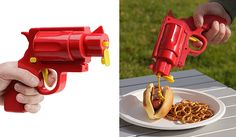 """""""CONDIMENT GUN""""....This one's perfect for food fights (kidding, but not really). Make your mustard and ketchup squirting more enjoyable with this condiment gun — but don't let the fun stop there. You can also fill it with BBQ sauce, spicy mayo or honey mustard."""