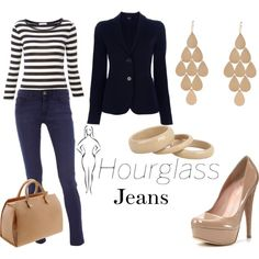 A fashion look from May 2012 featuring white shirt, navy blue blazer and blue jeans. Browse and shop related looks. Hourglass Figure Outfits, Hourglass Dress, Hourglass Fashion, Couture 2016, Hourglass Body Shape, Business Casual Outfits, Margiela, Petite Fashion, Body Shapes