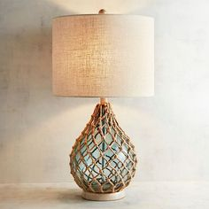 Rope & Sea Glass Table Lamp Inspired by glass fishing floats, our teardrop sea glass table lamp with Sea Glass, Glass Art, Nautical Lamps, Nautical Table, Nautical Lighting, Nautical Gifts, Beach House Decor, Home Decor, Beach Condo