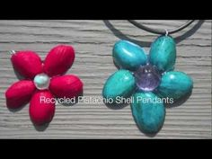 Great way to recycle those pistachio nut shells!!  Pretty pendant craft.