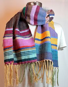 London - Handwoven Pink flambe and Wisteria Striped Scarf // Purple and Yellow Fashion Accessory // Woven noro yarn. $94.00, via Etsy.