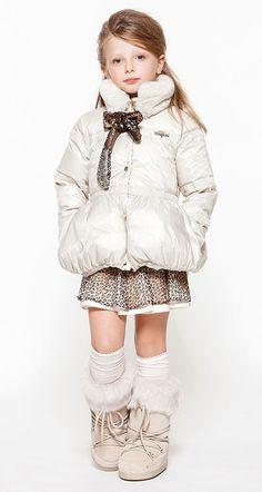 padded jacket and animal print skirt