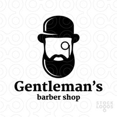 Exclusive Customizable Logo For Sale: Gentleman's Barber Shop | StockLogos.com  #logo, #mark, #icon, #symbol, #barber, #head, #hair, #haircut, #salon, #grooming, #shaving, #beard, #mustache, #monocle