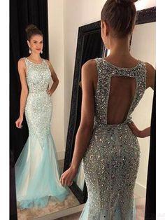 Beading prom dresses,Open Back Long Mermaid Tulle  Prom Dresses Evening Dresses #promdresses #SIMIBridal