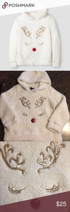 Miss Chievous Girls' Sequin Reindeer Pullover- YXL This sweatshirt is absolutely adorable! Very soft & fluffy material. White Hooded sweatshirt with Sequin Reindeer Design on front. Only worn once for a few hours, sadly my daughter grew out of this. Youth XL Miss Chievous Shirts & Tops Sweatshirts & Hoodies