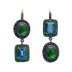 """Topkapi"" rectangular-cut blue topaz and cabochon-cut green opal drop earrings in oxidized gilver with round-cut tsavorites and sapphires. 24k yellow gold French wire backs. 2"" length. Handmade in Turkey. Designed by Yossi Harari / Gilver is an alloy comprised of 25% gold and 75% silver / 5,195"