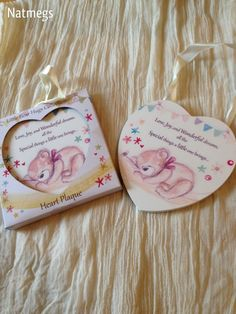 LOVE JOY DREAMS LITTLE BEAR HEART CREAM PLAQUE/SIGN~BOY~GIRL FREE PP UK