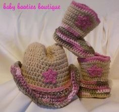 Baby Girl Crocheted Cowboy Booties Cowboy Hat Pink Camo Buff | eBay