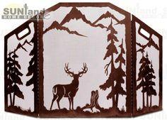 IWFA-4010 - 3-Panel Fireplace Screen - Deer --CM - Home and Garden Design Ideas