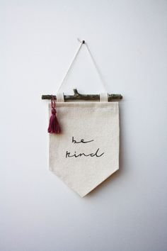 Mini Banner be kind  Canvas Banner  Wall Banner por smallbranches