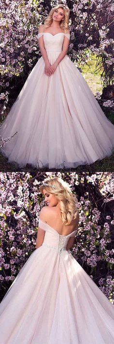 Tulle Off-the-shoulder Neckline A-line Wedding Dress With Beading WD215 #weddings #weddingdress