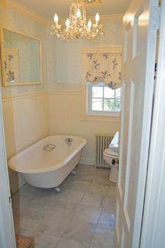 simple and classy bathroom -- love the tub!