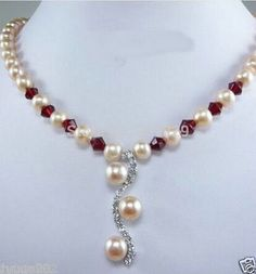 Pink Pearl Ruby Crystal Pendant 18″ Necklace>>>Lovely Women's Wedding Jewelry Pretty