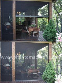 Spacious rustic big porch - with screens to keep out the bugs! #phantomscreens #retractablescreens #patio #porch #bigcanoe #rustichome
