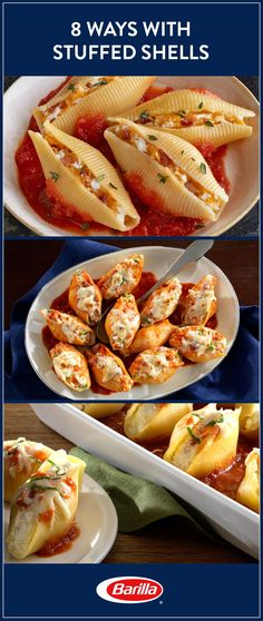 Stuffed shells offer a versatile dinner with endless combinations! Save this guide for eight different ways to stuff shells that will please every person in your family. Sausage, lentils, veggies and so many more options await! Vegetarian Recipes, Cooking Recipes, Healthy Recipes, All Food Recipes, Sausage Recipes, Meat Recipes, Pasta Recipes, Salad Recipes, Healthy Food
