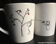 """You'll love these adorable his and hers coffee mugs for they remind you both of each other throughout the day! Cute Valentines for girlfriend or wife. BoldLoft """"Love Grows for You"""" His and Hers Coffee Mugs. #hisandhers #valentinesgiftsforgirlfriend #giftsforher"""