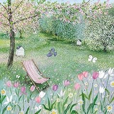 Greeting Card (MED4171) - Blank/Birthday - Lucy Grossmith - Spring Orchard - Beach Chair And Flowers.
