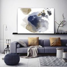Irena Orlov - Blue Gold Abstract Painting Hand Embellished Fine Art Painting Giclee on Canvas Abstract Watercolor Art, Watercolor Walls, Blue Abstract, Acrylic Painting Canvas, Abstract Paintings, Painting Art, Abstract Canvas, Canvas Art, Canvas Prints