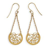 14 Karat Gold Plated Chain with Ornate Design Drop Earrings
