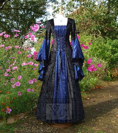 I want one with white instead of black!  Medieval Dress Wedding gown Handfasting by VendettaCouture on Etsy