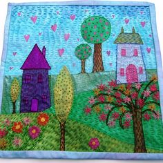 Embroidered textile wall hanging - Folksy