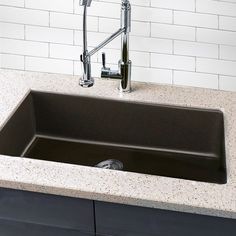 Highpoint Collection Granite Composite 33 Inch Single Bowl Undermount Kitchen Sink In Brown