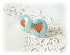 Red heart Stud Earrings  Heart Earrings  Round by JanesBeautyStore, $14.00