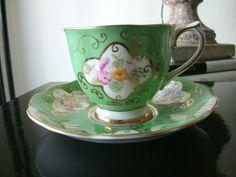 """Royal Albert """"Georgina"""" Regal Green Tea Cup and Saucer"""