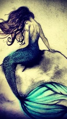 mermaid tattoos designs are the coolest tattoo designs ever, mermaid is a very beautiful and mythic creature. mermaid tattoos looks very beautiful on body. Mermaid Fairy, Cute Mermaid, The Little Mermaid, Mermaid On Rock, Mermaid Pics, Mermaid Kisses, Mermaid Artwork, Mermaid Drawings, Mermaid Paintings