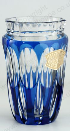 VINTAGE GLASS IN BLUE. c.1950s VAL ST. SAINT LAMBERT BLUE OVERLAY CRYSTAL COUVIN VASE. To visit my website click here: http://www.richardhoppe.co.uk or for help or information email us here: info@richardhoppe.co.uk