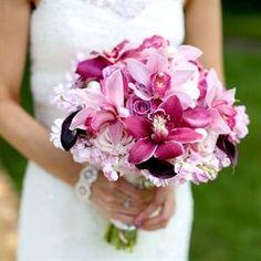 pink, orchids wedding bridal
