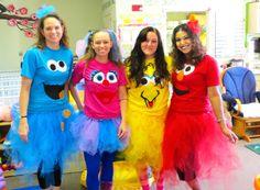 sesame street costumes adults Cookie Monster, Elmo, Big Bird, Abby Cadabby