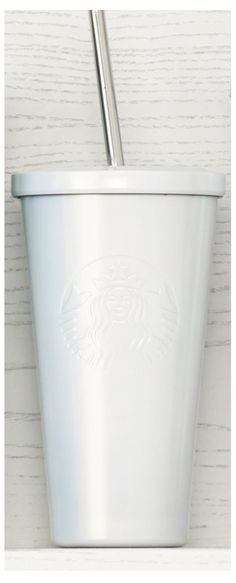 Insulated, stainless steel Cold Cup tumbler with embossed Siren logo and white pearlescent finish. #Starbucks #DotCollection