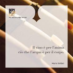 """""""Il vino è per l'anima ciò che l'acqua è per il corpo"""". Mario Soldati #BepindeEto #Vino_Opera_di_Famiglia #citazioni"""