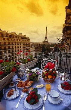 """A picture perfect display of breakfast at Plaza Athenee, Paris"" Photography art prints and posters by Lonely Planet Images - ARTFLAKES.COM"