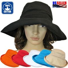 Womens 100% Cotton Sun Block Protection Wide Brim Floppy Hat Cap Bucket UPF  50+ b3a36c6b60c