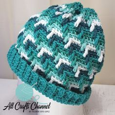 FREE - CROCHET -Apache Tears Hat ~ video tutorial also ~ easy level ~ sized for head circumference Crochet Crafts, Easy Crochet, Crochet Projects, Free Crochet, Knit Crochet, Crochet Adult Hat, Crochet Beanie Pattern, Crochet Patterns, Hat Patterns
