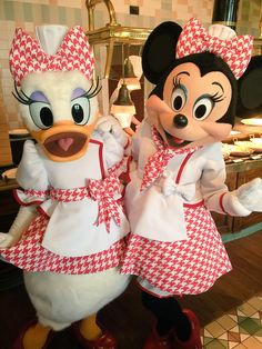 Minnie Mouse & Daisy Duck in their matching Mickey's Café outfits. - Disney/Disney(land/world) - Disney Day, Run Disney, Disney Love, Disney Magic, Disney Mickey, Disney Parks, Walt Disney, Disney Characters Costumes, Disney World Characters