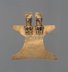 Double Eagle Pendant    Date:      10th–16th century  Geography:      Colombia, Guatavita Lake region  Culture:      Muisca  Medium:      Gold (cast alloy)  Dimensions:      W. 4 1/2 in. (11.4 cm)  Classification:      Metal-Ornaments