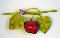 Vintage Enamel Cherry with Leaves Fruit Brooch
