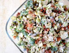 Broccolisalat - Opskrift: (4 personer) 1 broccoli 100g bacon i tern 40g solsikkekerner 1 lille rødløg 1 håndfuld rosiner 250g skyr 1,5 spsk balsamico 2 spsk fiber sirup clear Salt og peber - broccolisallad