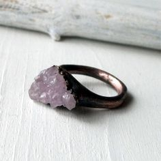 Copper Ring Amethyst by MidwestAlchemy.  I wish these rings came in my size!  But the smallest they have are size 5.5. :(