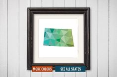 North Dakota State Map Print - Personalized Geometric Wall Art ND Colorful Abstract Poster, Minimal, Unique and Customized Triangle Decor