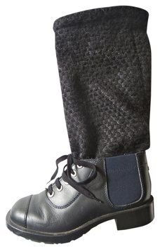 Chanel Black Leather Fold Over Knit Boots