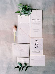 marble wedding invitations - photo by Milton Photography http://ruffledblog.com/industrial-greenhouse-wedding-ideas