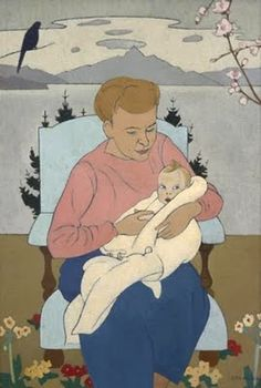 "Rita Angus (1908 - 1970): ""Mother and child"" 1945"