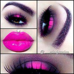 Hot pink smokey eye