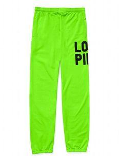 The Campus Pant - Victoria's Secret Pink® - Victoria's Secret  @Deanna Scalf LIME GREEN SWEAT PANTS! lol :)